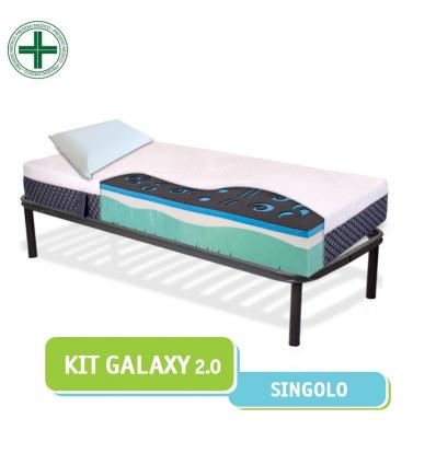 Kit Galaxy - Materasso memory carbon e fresh gel + Rete a doghe + Cuscini memory